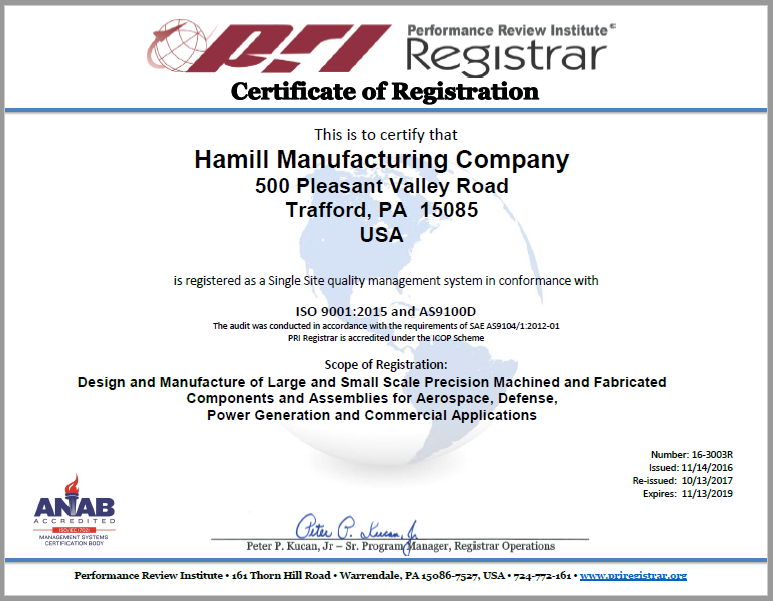 Certifications | Hamill Manufacturing